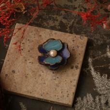 Брошь Аленький цветочек синий
