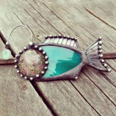 Брошь Рыба Удильщик зеленая
