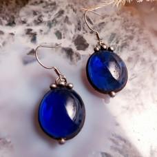 Серьги Соль синие прозрачные