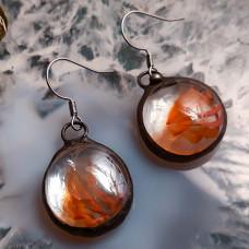 Серьги Соль прозрачные с рыжим ветерком