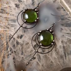 Серьги Капли янтаря зеленые