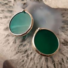 Серьги Круги зеленые с серебрением