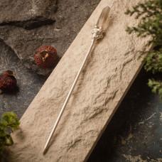 Палочка для волос с серебрением и дымчатым кварцем