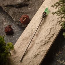 Палочка для волос с зелёным горным хрусталем