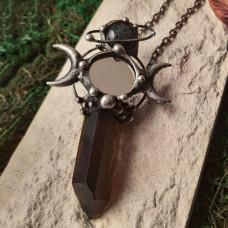 Кулон Дымчатый кварц с зеркальным трехлунием