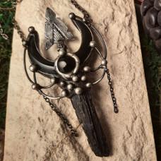 Кулон Дымчатый кварц со стрелой и обсидиановой луной