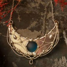 Лунница Cеребряная с голубым камнем